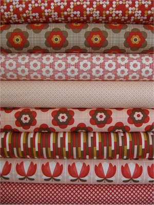 Urban Chiks, Boho, Red/Pink in FAT QUARTERS, 8 Total