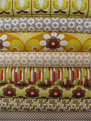 Urban Chiks, Boho, Yellow in FAT QUARTERS, 8 Total