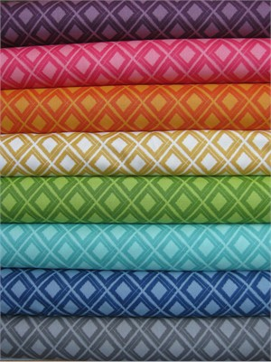 V & Co, Simply Color, Ikat Diamonds Sampler in FAT QUARTERS, 8 Total