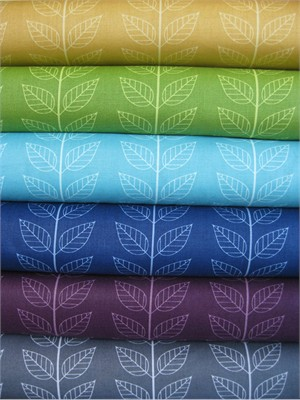 V & Co, Simply Color, Leafy Stripes Sampler in FAT QUARTERS, 6 Total