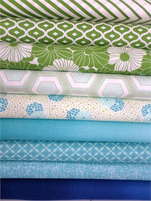 V & Co, Simply Style, Aquatic Blue Green in FAT QUARTERS 9 Total