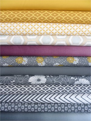 V & Co, Simply Style, Grey Mustard in FAT QUARTERS 12 Total