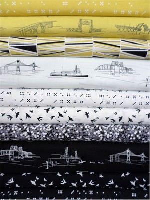 Violet Craft, Waterfront Park, Black in FAT QUARTERS 10 Total