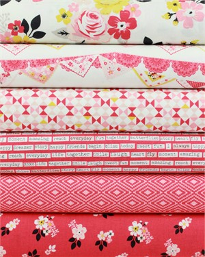 Design by Dani for Riley Blake, Vintage Daydream, Rose in FAT QUARTERS 6 Total