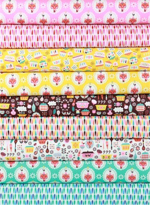 Andrea Muller for Riley Blake, Vintage Kitchen in FAT QUARTERS 9 Total