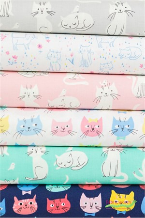 Robert Kaufman, Whiskers & Tails in FAT QUARTERS 6 Total