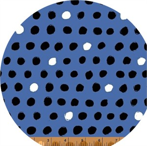 Windham Fabrics, 8 Days a Week, Black and White Dots Blue