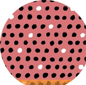Windham Fabrics, 8 Days a Week, Black and White Dots Pink
