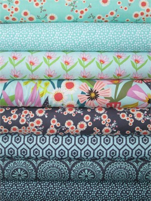 Windham Fabrics, Garden Party Tango, Sky/Charcoal in FAT QUARTERS 8 Total