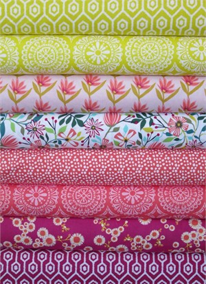 Windham Fabrics, Garden Party Tango, Yellow/Fuchsia in FAT QUARTERS 8 Total