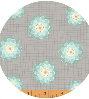 Windham Fabrics, Wallflowers, Flower Grid Grey