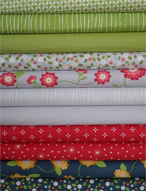 Windham Fabrics, Wallflowers, Green/Navy in FAT QUARTERS 11 Total