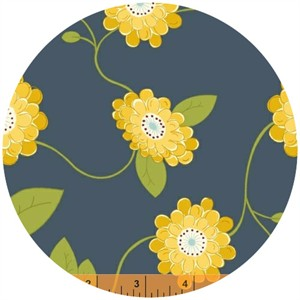 Windham Fabrics, Wallflowers, Vine Flower Navy