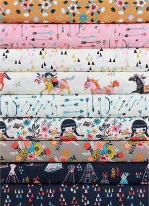 Miriam Bos for Birch Organic Fabrics, Wildland, Prairie Rose in FAT QUARTERS 8 Total