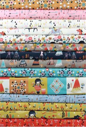 Miriam Bos for Birch Organic Fabrics, Wildland, Sampler Poplin in FAT QUARTERS 14 Total (PRE-CUT)