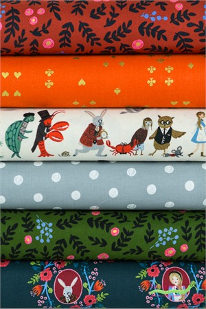 Rifle Paper Co. for Cotton and Steel, Wonderland, Winter Wonderland in FAT QUARTERS 6 Total