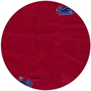 Wide Width Fabrics, Fine Wale Corduroy, Embroidered Whales Red