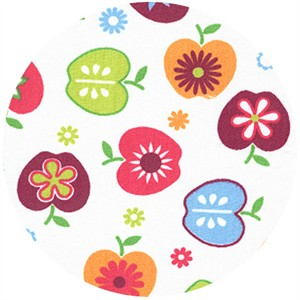 Wide Width Fabric, Apples & Flowers Pink