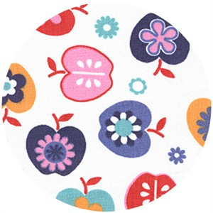 Wide Width Fabric, Apples & Flowers Violet