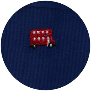 Wide Width Fabrics, Corduroy, Embroidered Double Decker Bus Royal