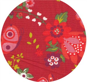Wide Width Fabrics, Folklore Flowers Red