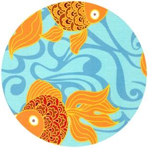 Wide Width Fabric, Goldfish Aqua