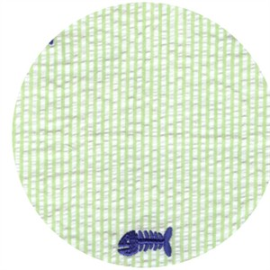 Wide Width Fabrics, Seersucker, Embroidered Bonefish Green