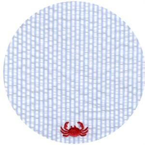 Wide Width Fabrics, Seersucker, Embroidered Crabs Blue