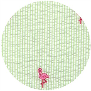 Wide Width Fabrics, Seersucker, Embroidered Flamingo Green