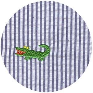 Wide Width Fabric, Seersucker, Embroidered Gator Navy