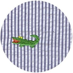 Wide Width Fabric, Seersucker, Embroidered Gator Navy