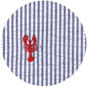 Wide Width Fabric, Seersucker, Embroidered Lobster Navy
