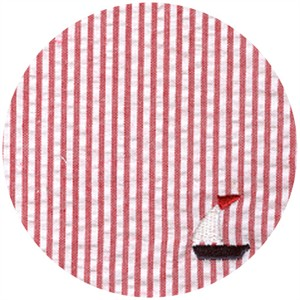 Wide Width Fabric, Seersucker, Sailboats Red