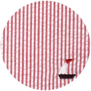Wide Width Fabric, Seersucker, Sailboats Red