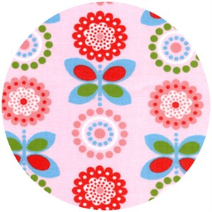 Wide Width Fabric, Twill, Flowers Pink/Red
