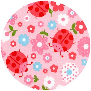 Wide Width Fabric, Twill, Ladybugs Pink/Red