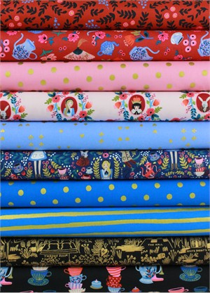 Rifle Paper Co. for Cotton and Steel, Wonderland, Mad Hatter in FAT QUARTERS 10 Total