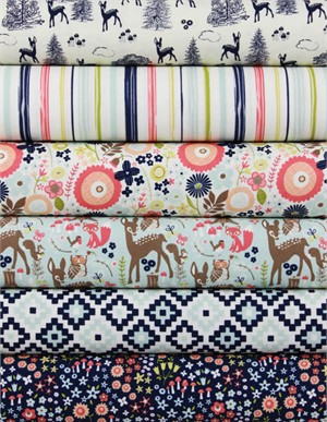 Design by Dani for Riley Blake, Woodland Spring Navy in FAT QUARTERS 6 Total