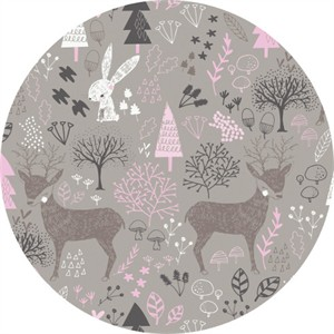 Camelot Fabrics, Hello, My Deer, Woodland Zinc