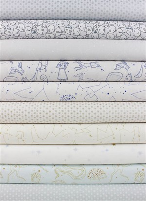 Lizzy House for Andover, The Whisper Palette, Sky in FAT QUARTERS 10 Total