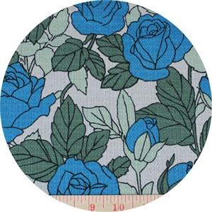 Yuwa Fabrics, BARKCLOTH, Roses Cobalt