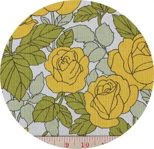Yuwa Fabrics, BARKCLOTH, Roses Mustard