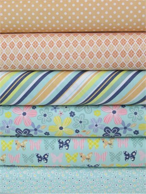 Zoe Pearn, A Beautiful Thing, Blue/Orange in FAT QUARTERS 6 Total