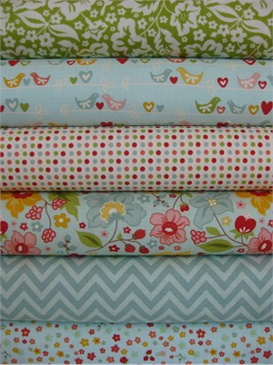 Zoe Pearn for Riley Blake, The Sweetest Thing, Blue in FAT QUARTERS 6 Total