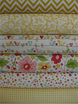 Zoe Pearn for Riley Blake, The Sweetest Thing, Yellow in FAT QUARTERS 6 Total