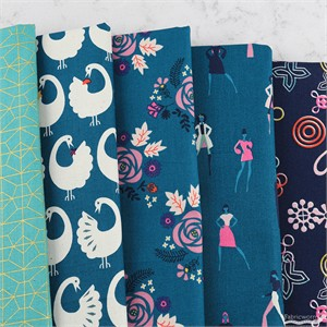 Rashida Coleman-Hale for Cotton and Steel, Akoma, Teal in FAT QUARTERS 5 Total