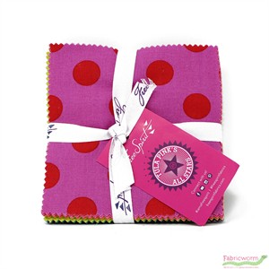 Tula Pink for Free Spirit, All Stars Pom Poms, Solids, & Stripes Coordinates, Charm Squares