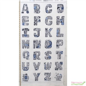 "Robert Kaufman, Lettered, Alphabet Indigo (23"" Panel)"
