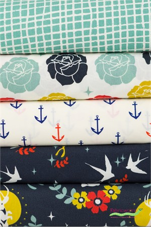 Fabricworm Custom Bundle, ORGANIC, Anchored in FAT QUARTERS 5 Total