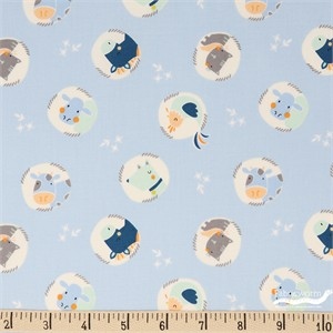 Camelot Fabrics, Cluck Moo Oink, Animals Light Blue
